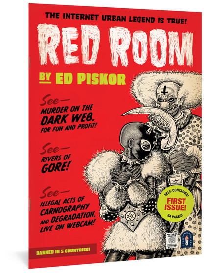 RED ROOM #1 FANTAGRAPHICS BOOKS RED ROOM #1 MAR211290 (W) Ed Piskor (A) Ed Piskor From the creator of Hip Hop Family Tree and X-Men: Grand Design comes this ALL-NEW monthly comic book series, with a specially priced, self-contained, double-sized debut issue! Red Room is a cyberpunk, outlaw, splatterpunk masterpiece. Aided by the anonymous dark web and nearly untraceable crypto-currency, there has emerged a subculture of criminals who live-stream and patronize webcam murders for entertainment. Who are the murderers? Who are the victims? How do we stop it? As seen on Piskor's YouTube channel sensation, Cartoonist Kayfabe! In Shops: May 19, 2021