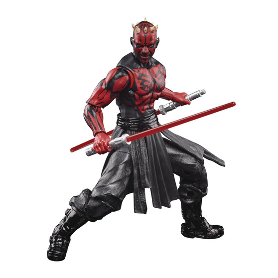 STAR WARS BLACK SERIES 50TH ANNIVERSARY 6IN DARTH MAUL HASBRO TOY GROUP   From Hasbro Toy Group.Darth Sidious' apprentice and enforcer,Darth Maul,has cut his way through the ranks of the galactic crime syndicate Black Sun to take on the pinnacle of their organization. ThisStar WarsThe Black Series action figure comes with 2 entertainment-inspired Lightsaber accessories that can combine to create a double-bladed Lightsaber.Star Wars fans and collectors can display this highly poseable, fully articulated figure, featuring premium deco, in their action figure and vehicle collection!