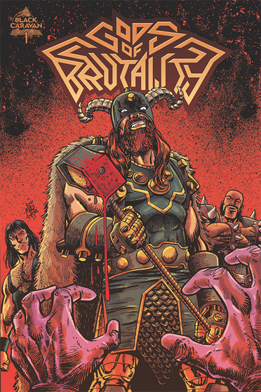 Gods of Brutality #1 Robot Zero Comics EXCLUSIVE Limited to 250 Copies  In 2020, rock god Nick Dillion will step off the stage for the final time, ending his 37 year career as the head of metal band Gods of Brutality. The GoB, as they're known to fans, has sold over 70 million records worldwide, and is about to release their final album, completing the story they set out to tell 37 years before. In his final interview, Nick Dillion reveals that when he died for a minute and 24 seconds in 1984, he was actually in hell, where he was tortured by demons. In an act of desperation, Nick prayed to any god that would listen to him. Thankfully, his pleas were answered when Thor and Hercules were dispatched to save him. Gods of Brutality follows Nick, Thor, and Hercules as they navigate an escape from the underworld!