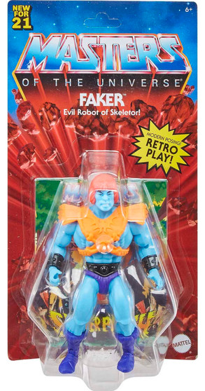 MOTU ORIGINS FAKER ACTION FIGURE MATTEL TOYS   It's a thrilling time to be aMasters of the Universefan! For longtime fans and for a new generation of kids who love action and adventure, it's time to discover the thrilling action and adventures ofHe-Man, Skeletor,the secrets ofCastle Grayskulland so much more! The figures in this collection stand 5.5 inches tall and have 16 moveable joints so they're highly poseable for imaginative and action-oriented fun,Masters of the Universestyle! Longtime fans will appreciate both the vintage design details that honor the heritage of this beloved adventure franchise and the design updates that add an exciting look to the future. Each figure comes with a mini comic book that explores new story lines and introduces heroes, villains and allies in the timeless battle between good and evil! Aficionados will love the classically stylized retro-Packaging. Keep an eye out for new characters to come, and curate a collection to play with and trade.