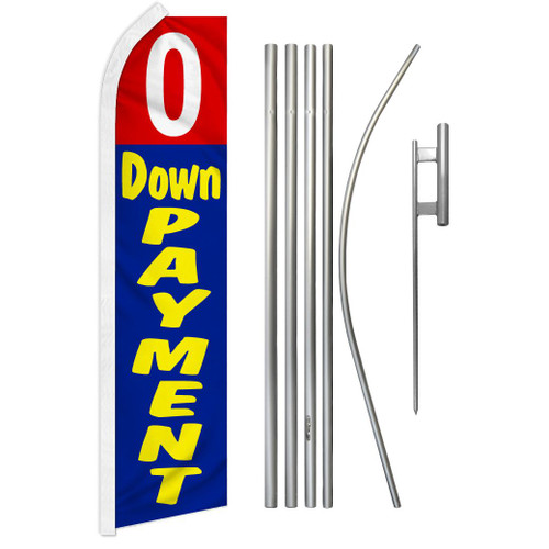 0 Down Payment (Red & Blue) Super Flag & Pole Kit