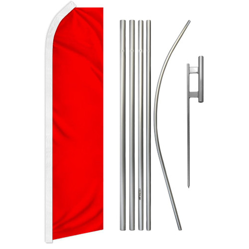 Red Solid Color Super Flag & Pole Kit