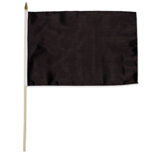 Black Solid Color 12x18in Stick Flag