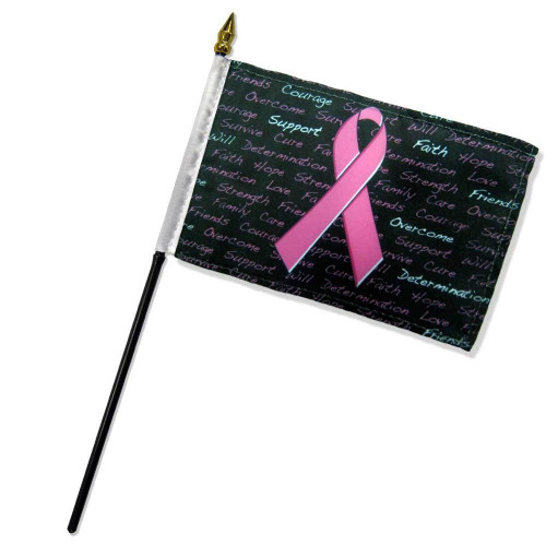 Breast Cancer 12x18in Stick Flag