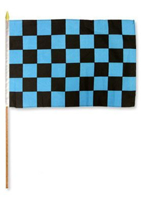 Blue & Black Checkered 12x18in Stick Flag