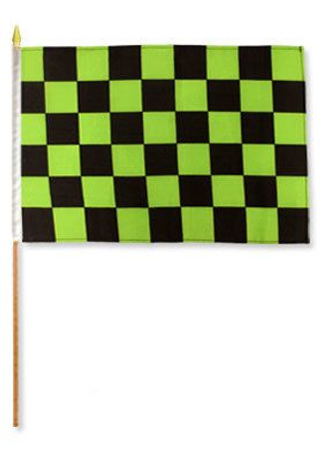 Green & Black Checkered 12x18in Stick Flag