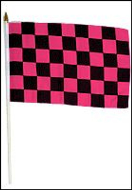 Pink & Black Checkered 12x18in Stick Flag
