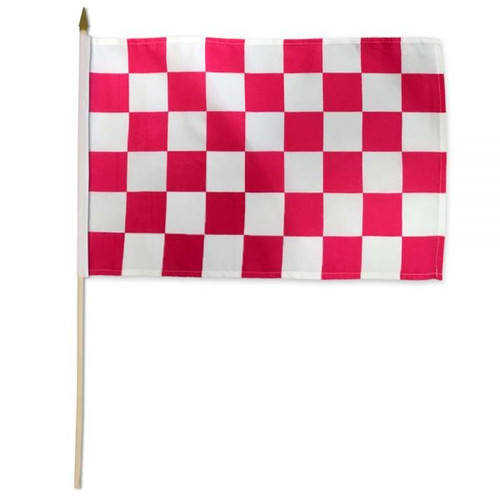 Pink & White Checkered 12x18in Stick Flag