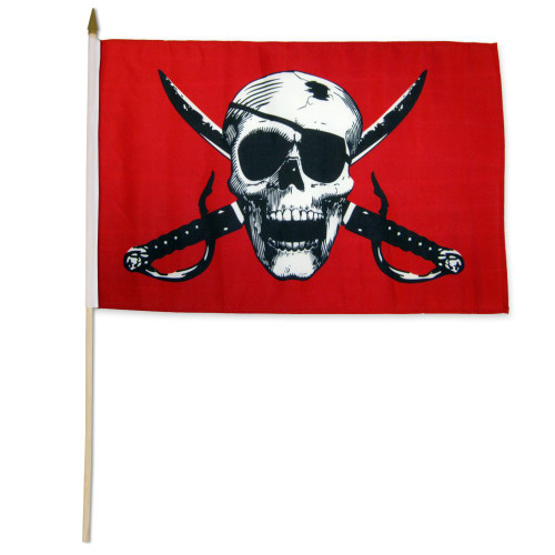 Crimson Pirate 12x18in Stick Flag