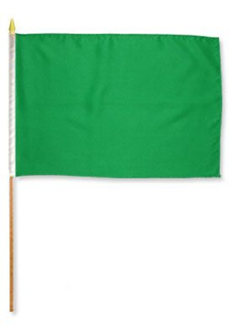 Green Solid Color 12x18in Stick Flag