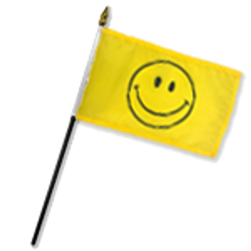 Happy Face 12x18in Stick Flag