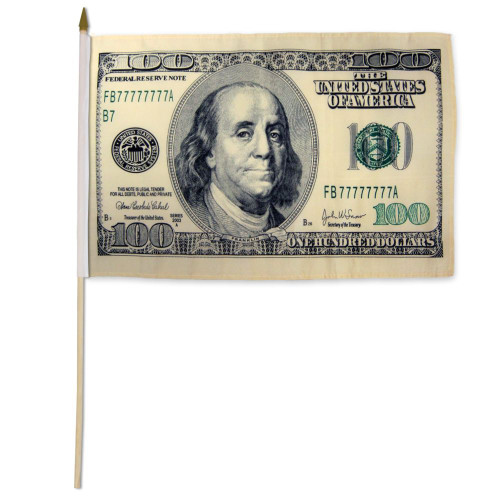 Hundred Dollars 12x18in Stick Flag