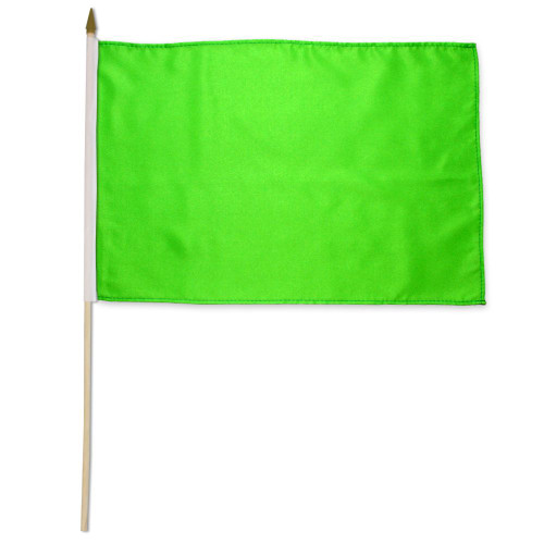 Neon Green Solid Color 12x18in Stick Flag