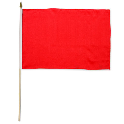 Red Solid Color 12x18in Stick Flag