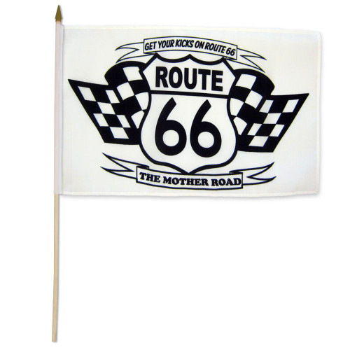Route 66 (Black & White) 12x18in Stick Flag
