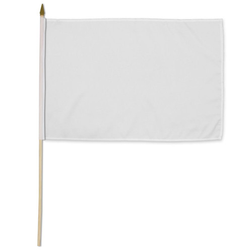 White Solid Color 12x18in Stick Flag