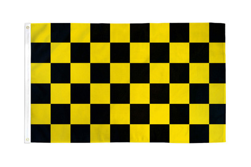 Black & Yellow Checkered Flag 2x3ft Poly
