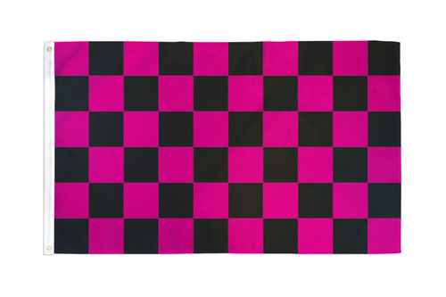 Pink & Black Checkered Flag 2x3ft Poly