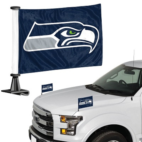 "Seattle Seahawks Ambassador 4"" x 6"" Car Flag Set of 2"