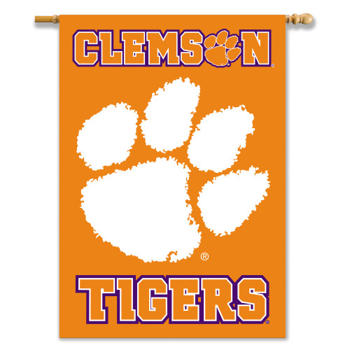 """Clemson Tigers 2-Sided 28"""" X 40"""" Banner W/ Pole Sleeve"""