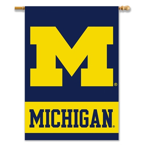 """Michigan Wolverines 2-Sided 28"""" X 40"""" Banner W/ Pole Sleeve"""