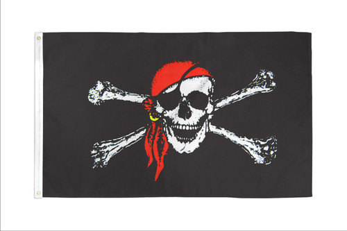 Red Bandana Jolly Roger Flag 2x3ft Poly