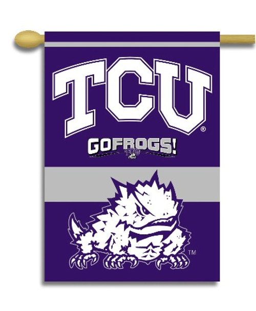 """TCU Horned Frogs 2-Sided 28"""" X 40"""" Banner W/ Pole Sleeve"""