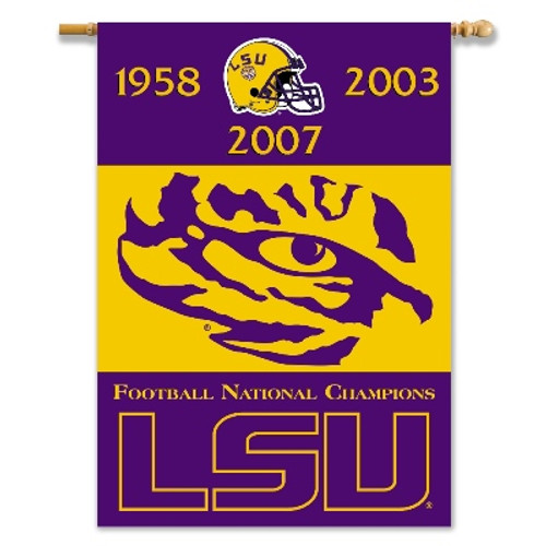 "LSU Tigers 2-Sided 28"" X 40"" Banner W/ Pole Sleeve Champ Years"
