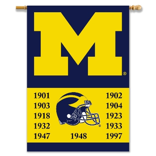 """Michigan Wolverines 2-Sided 28"""" X 40"""" Banner W/ Pole Sleeve Champ Years"""