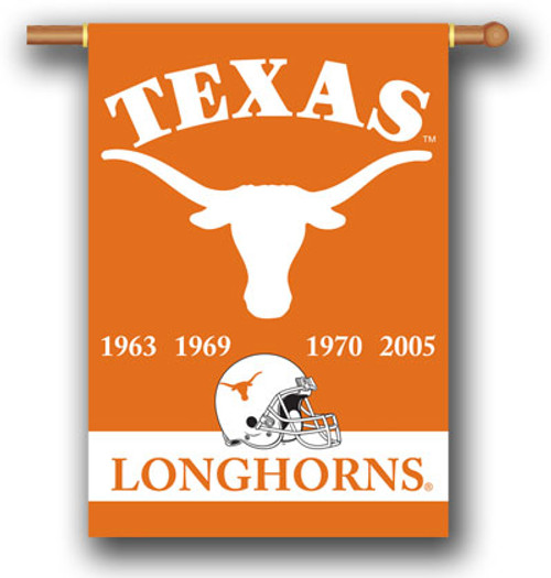 "Texas Longhorns 2-Sided 28"" X 40"" Banner W/ Pole Sleeve Champ Years"