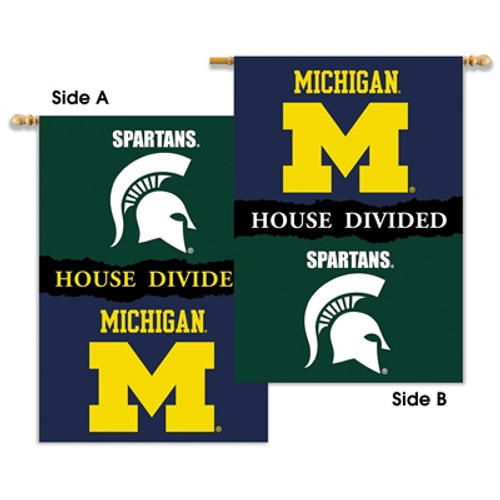 "Michigan - Michigan St. 2-Sided 28"" X 40"" Banner W/ Pole Sleeve House Divided"