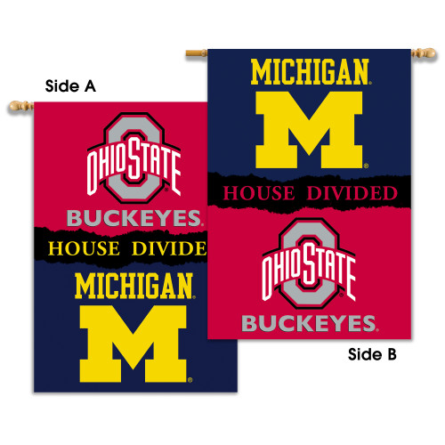 "Michigan - Ohio St. 2-Sided 28"" X 40"" Banner W/ Pole Sleeve House Divided"