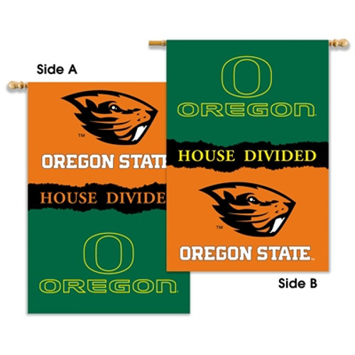 """Oregon - Oregon State 2-Sided 28"""" X 40"""" Banner W/ Pole Sleeve House Divided"""