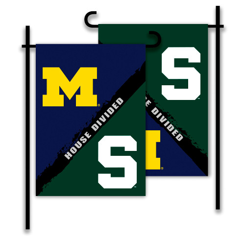 Michigan - Michigan State 2-Sided Garden Flag - Rivalry House Divided