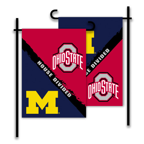 Michigan - Ohio State 2-Sided Garden Flag - Rivalry House Divided