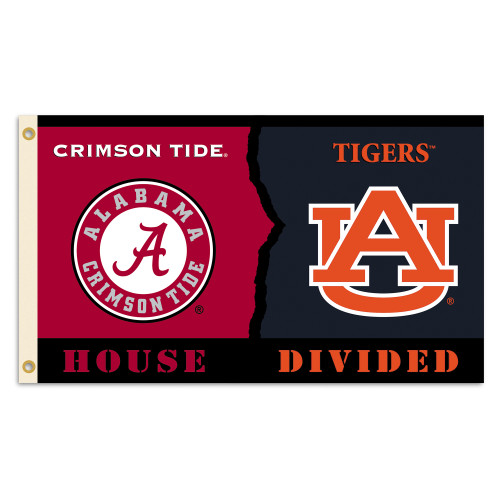 Alabama - Auburn 3 Ft. X 5 Ft. Flag W/Grommets - Rivalry House Divided