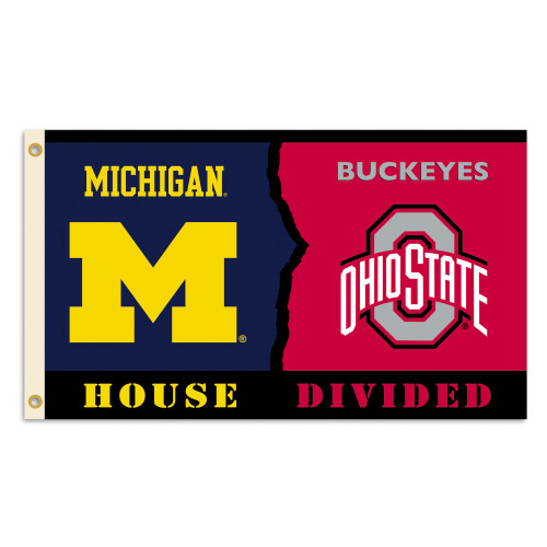 Michigan - Ohio State 3 Ft. X 5 Ft. Flag W/Grommets - Rivalry House Divided