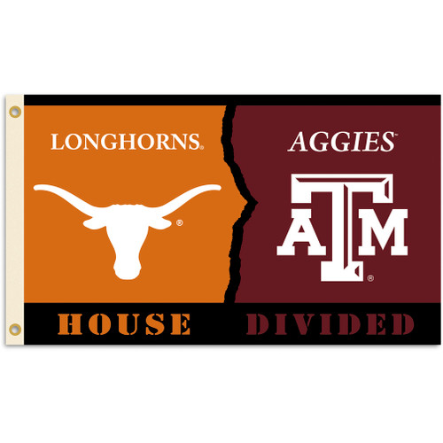 Texas - Texas A & M 3 Ft. X 5 Ft. Flag W/Grommets - Rivalry House Divided