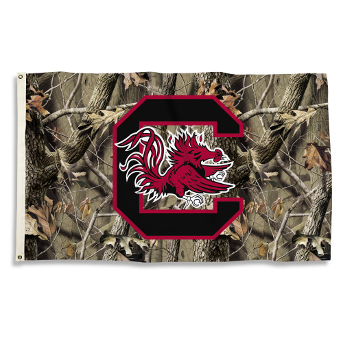 South Carolina Gamecocks 3 Ft. X 5 Ft. Flag W/Grommets - Realtree Camo Background