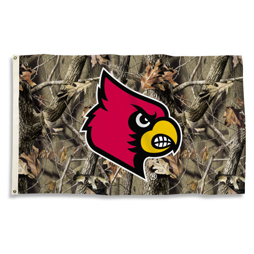 Louisville Cardinals 3 Ft. X 5 Ft. Flag W/Grommets - Realtree Camo Background