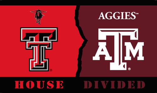 Texas Tech - Texas A & M 3 Ft. X 5 Ft. Flag W/Grommets - Rivalry House Divided