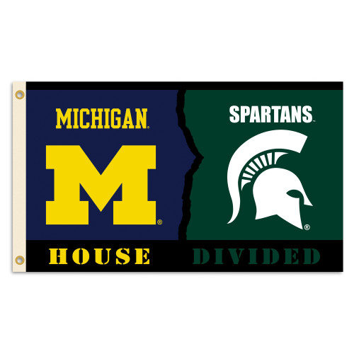 Michigan - Michigan State 3 Ft. X 5 Ft. Flag W/Grommets - Rivalry House Divided
