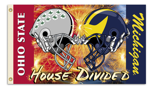 Michigan - Ohio State 3 Ft. X 5 Ft. Flag W/Grommets - Helmet House Divided