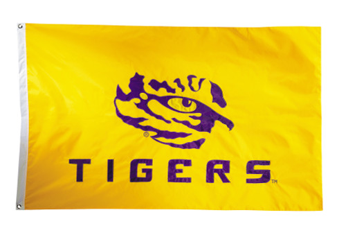 LSU Tigers 2-sided Nylon Applique 3 Ft x 5 Ft Flag w/ grommets