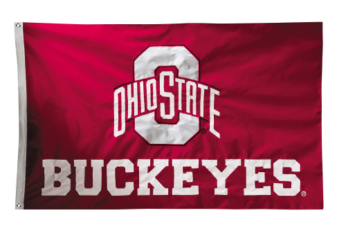 Ohio State Buckeyes 2-sided Nylon Applique 3 Ft x 5 Ft Flag w/ grommets