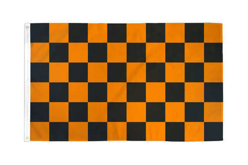 Orange & Black Checkered Flag 3x5ft Poly