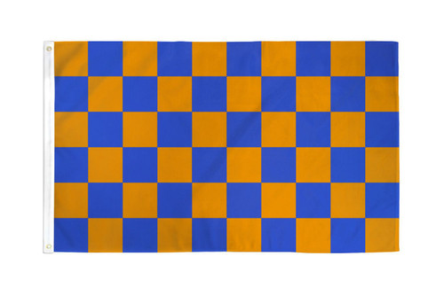 Blue & Orange Checkered Flag 3x5ft Poly