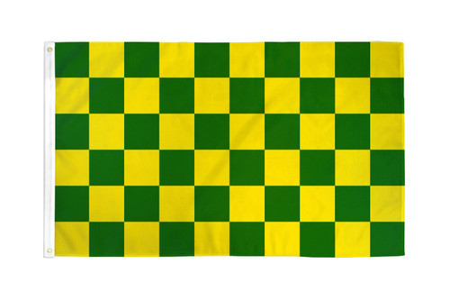 Green & Yellow Checkered Flag 3x5ft Poly