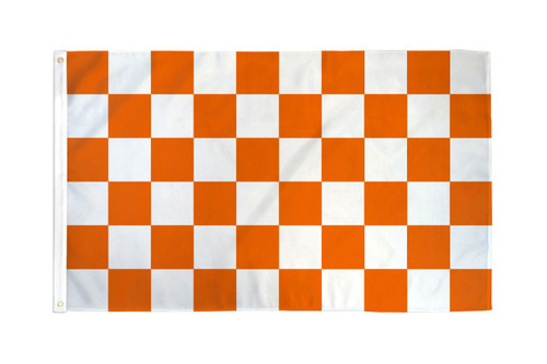 Orange & White Checkered Flag 3x5ft Poly
