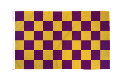 Purple & Gold Checkered Flag 3x5ft Poly